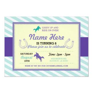 乗馬のピンクの紫色の真新しい子馬の招待状 カード