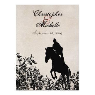 乗馬のヴィンテージのスタイルの馬の結婚式招待状 カード