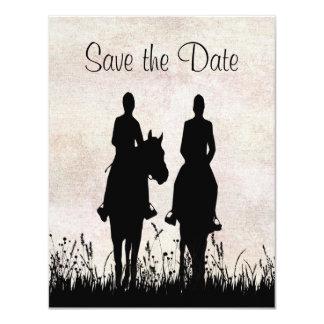 乗馬の乗馬の結婚式の保存日付 カード