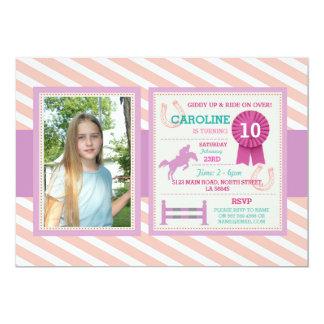 乗馬の写真のレッスンピンクの招待状 カード