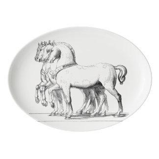 乗馬の大皿 磁器大皿
