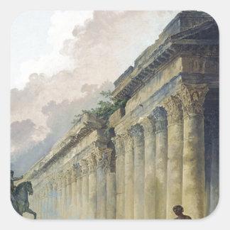 乗馬の彫像が付いているローマの想像眺め スクエアシール