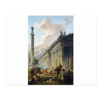 乗馬の彫像が付いているローマの想像眺め ポストカード