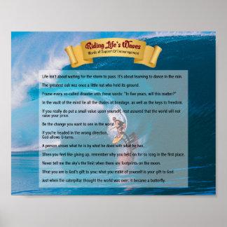 乗馬の生命の波-サポート及び勇気付けられる ポスター
