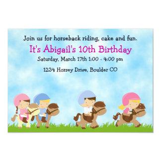乗馬の誕生日の招待状、女の子及び男の子 カード