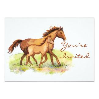 乗馬の馬及び子馬の招待 カード