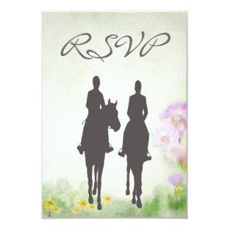 乗馬乗馬の結婚RSVPのカード カード