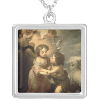 乳児キリストおよび洗礼者ヨハネ シルバープレートネックレス