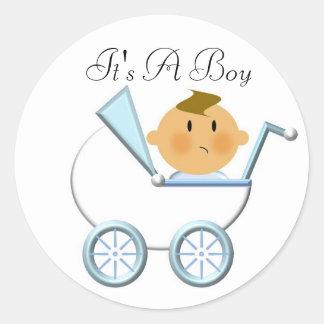 乳母車(4、)それは男の子です ラウンドシール
