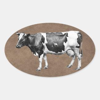 乳牛 楕円形シール