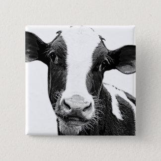 乳牛-白黒酪農場の子牛 5.1CM 正方形バッジ