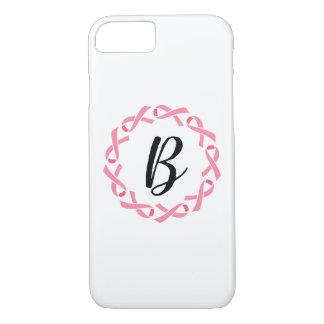乳癌のピンクのリボンのモノグラムの電話箱 iPhone 8/7ケース