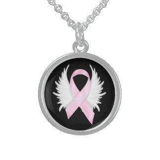 乳癌のリボンの天使の翼 スターリングシルバーネックレス