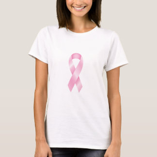乳癌の光沢のあるピンクのリボンのTシャツ Tシャツ