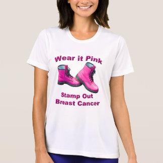 乳癌の女性のTシャツを押して下さい Tシャツ