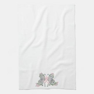乳癌の蝶デザイン キッチンタオル