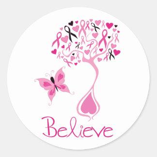 乳癌の認識度のステッカー ラウンドシール