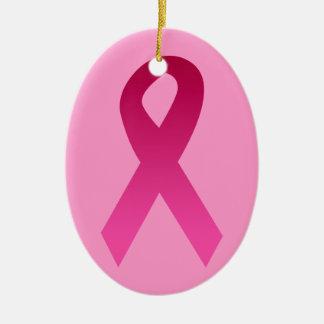 乳癌の認識度のピンクのリボン セラミックオーナメント