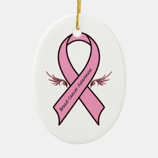 乳癌の認識度のリボン セラミックオーナメント