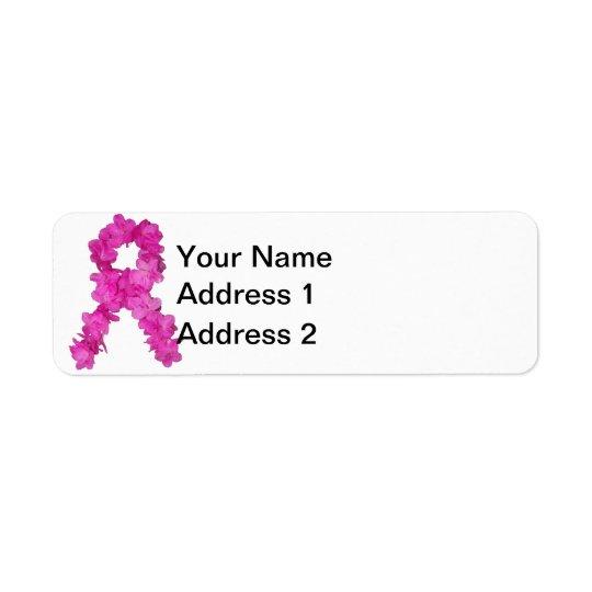乳癌の認識度の花のリボン 返信用宛名ラベル
