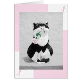 乳癌カード--ピンクのバラを持つ猫 カード