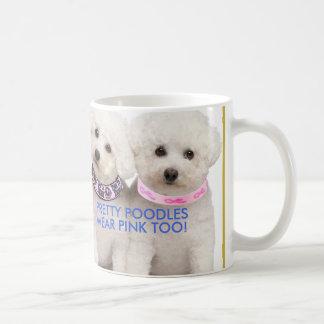 乳癌サポートかわいらしいプードルのマグ コーヒーマグカップ