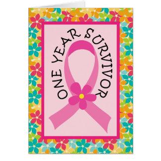 乳癌1年の生存者のピンクのリボン カード