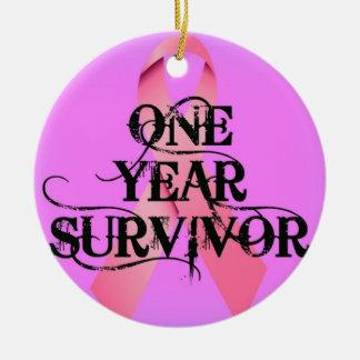 乳癌1年の生存者 セラミックオーナメント