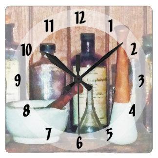 乳鉢および乳棒および乳棒 スクエア壁時計