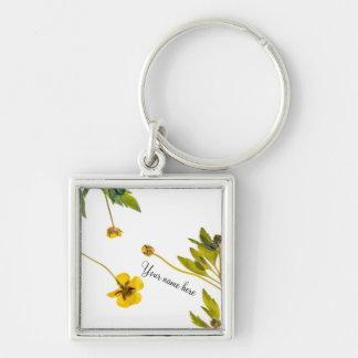 乾燥されたキンボウゲの花 キーホルダー