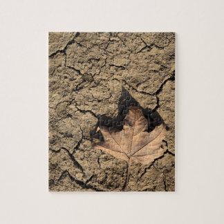 乾燥した汚れた土-秋の写真撮影の死んだ葉 ジグソーパズル