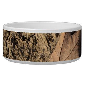 乾燥した汚れた土-秋の写真撮影の死んだ葉 犬のえさ皿
