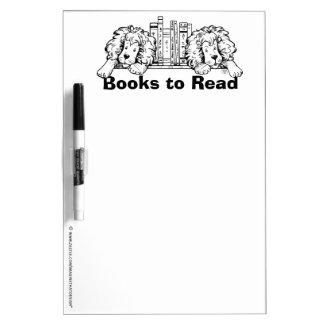 乾燥した消去を読むライオンのブックエンドの本 ホワイトボード