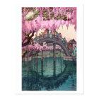 亀戸天神、Kameido橋、ひろし吉田の木版画 ポストカード
