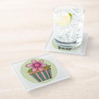 予測できないカップケーキのピンクのデイジーガラスのコースター ガラスコースター