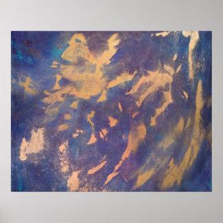 予測できない抽象芸術|のおもしろいの紫色の青い金ゴールドブラシストローク ポスター