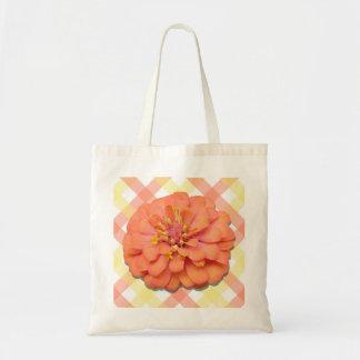 予算のトート-格子のテキーラの日の出の《植物》百日草 トートバッグ