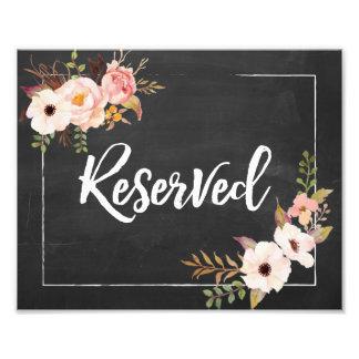 予約素朴な花の黒板の結婚式の印 フォトプリント