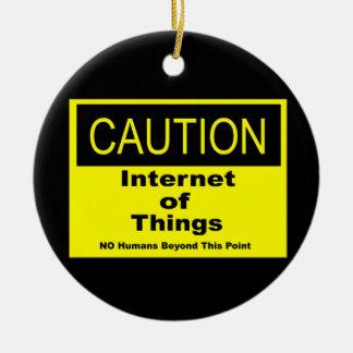 事のIoTの注意の警告標識のインターネット セラミックオーナメント