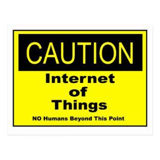 事のIoTの注意の警告標識のインターネット ポストカード