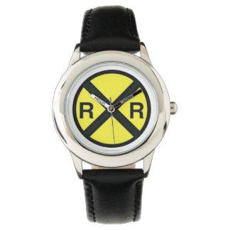 事前警告の印鉄道交差 腕時計