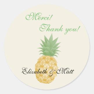 二か国語のパイナップル結婚式はステッカー感謝していしています ラウンドシール