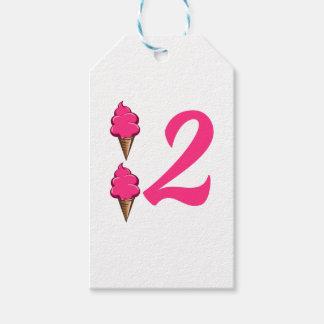 二番目の女の子の誕生会のピンクのアイスクリーム ギフトタグ