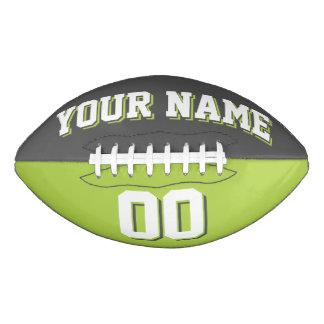二色のダークグレーおよびライムグリーンの習慣のフットボール アメリカンフットボール