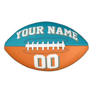 二色のティール(緑がかった色)およびオレンジカスタムなフットボール アメリカンフットボール