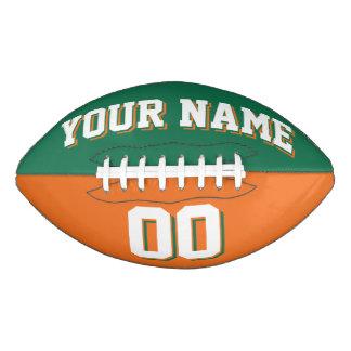 二色の緑およびオレンジカスタムなフットボール アメリカンフットボール