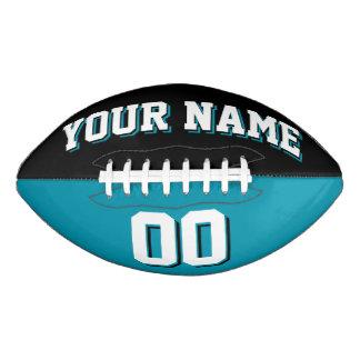 二色の黒およびティール(緑がかった色)の習慣のフットボール アメリカンフットボール