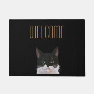 二色、白黒歓迎された猫 ドアマット
