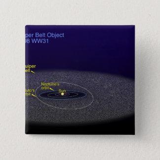 二進Kuiperベルトの目的の軌道 5.1cm 正方形バッジ