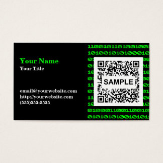 二進QRコード名刺-モノクロ緑 名刺